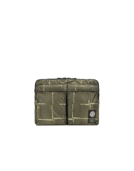 STONE ISLAND Laptop case 915P1 STONE ISLAND/PORTER®<br>STONE ISLAND HOUSE CHECK JACQUARD ON NYLON METAL BLACK WATRO_GARMENT DYED