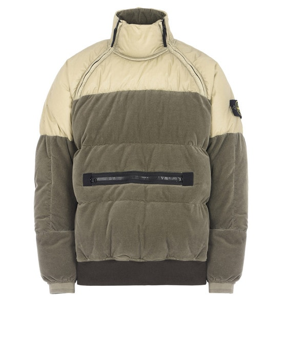 STONE ISLAND ANORAK 44225 COTTON VELVET DOWN-TC WITH REVERSE LAMY FLOCK