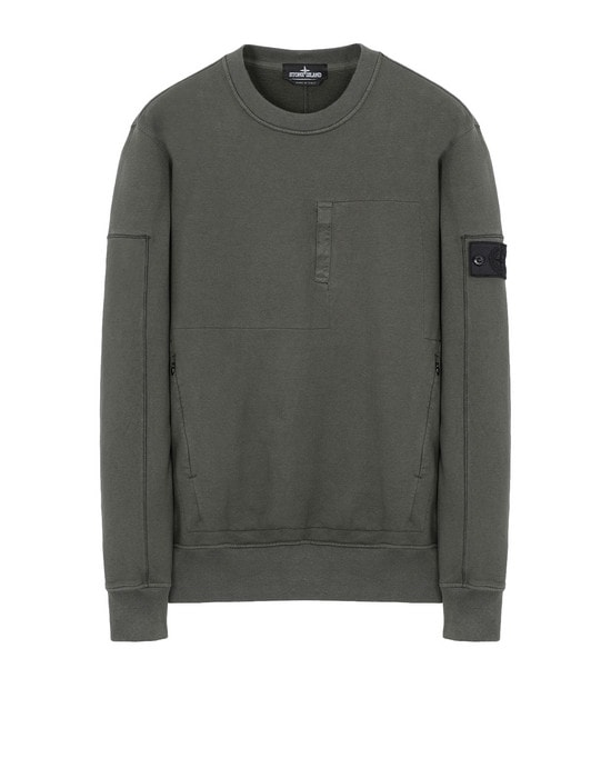 STONE ISLAND SHADOW PROJECT スウェット 60107 DROP POCKET CREWNECK (DIAGONAL WEAVE FELPA) GARMENT DYED