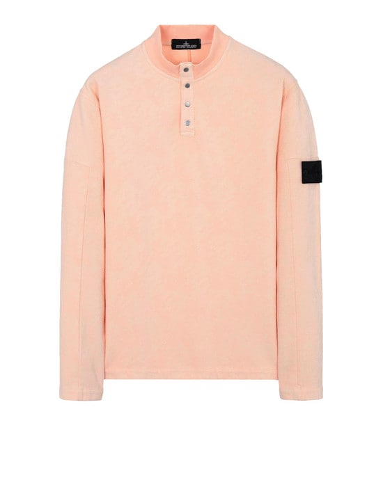 STONE ISLAND SHADOW PROJECT Sweatshirt 60409 LS MOCK NECK (PRINTED JERSINHO) PANAMA WEAVED COTTON CHENILLE ENPHATIZING PRINT - GARMENT DYED