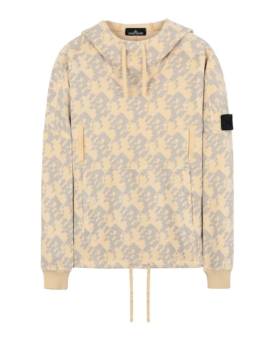 STONE ISLAND SHADOW PROJECT Sudadera 60309 FLANK POCKET ANORAK (PRINTED JERSINHO) PANAMA WEAVED COTTON CHENILLE WITH ENPHATIZING PRINT - GARMENT DYED