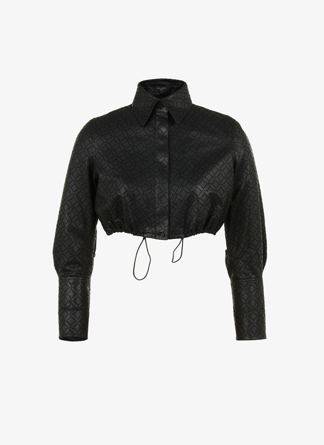 Leather cropped shirt - maison-alaia.com