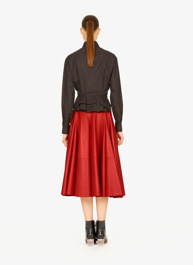 Long flared leather skirt - maison-alaia.com