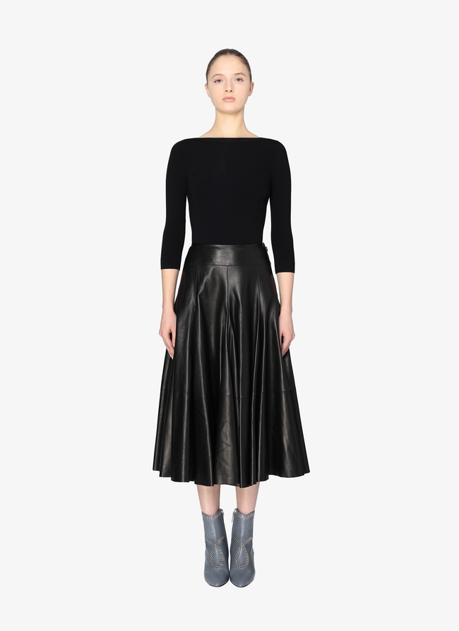 Long flared leather skirt - maison-alaia.com
