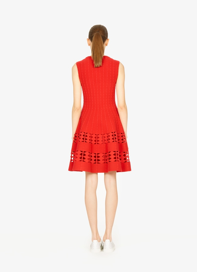 eab6b7def8e Women s Red Flared Knitted Dress