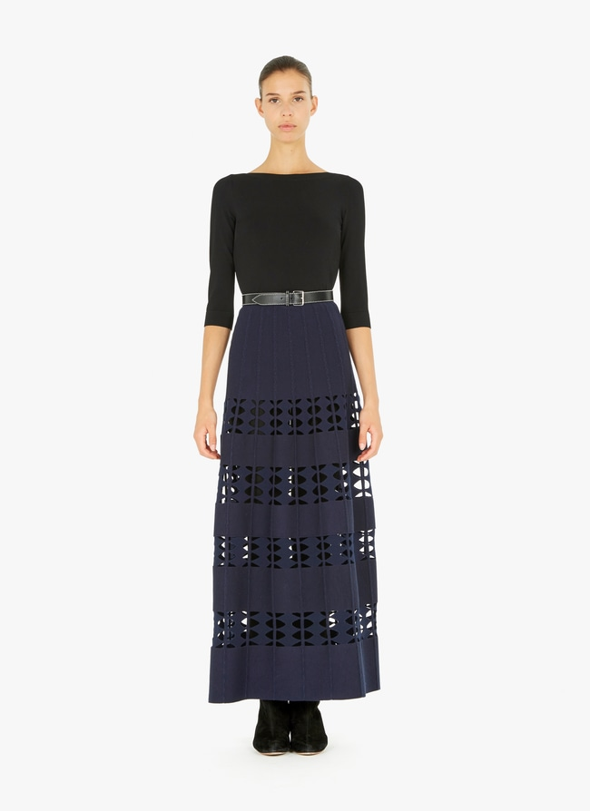 Long flared knitted skirt - maison-alaia.com