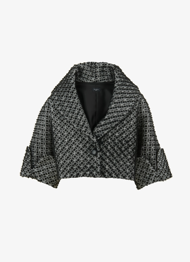 Embroidered Shearling Bolero - maison-alaia.com