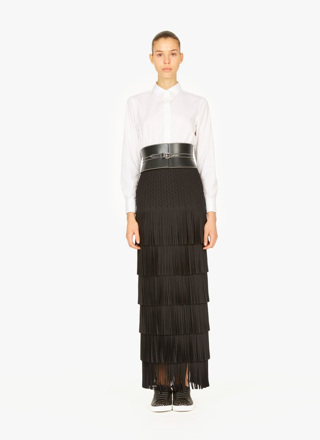 Long fringed knitted skirt - maison-alaia.com