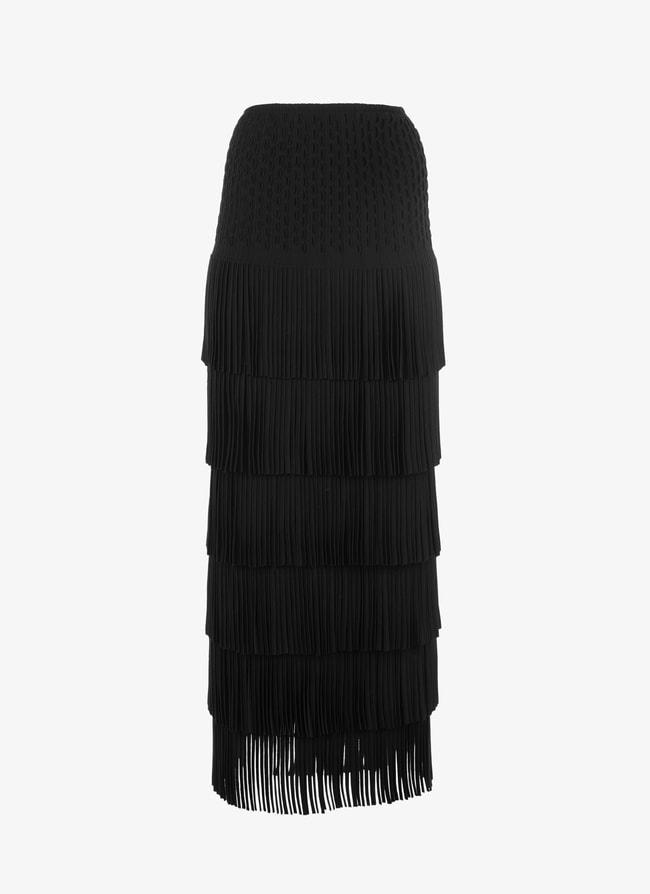 Long fringed knitted skirt - maison-alaia.com
