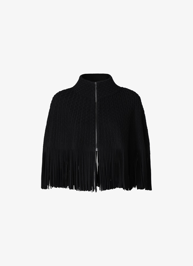 Fringed knitted cape - maison-alaia.com