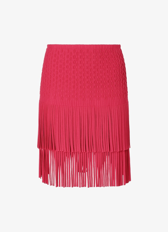 Fringed knitted skirt - maison-alaia.com