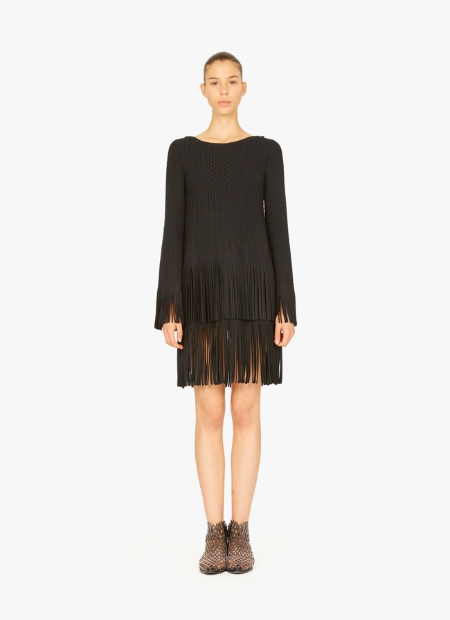 Fringed knitted dress - maison-alaia.com