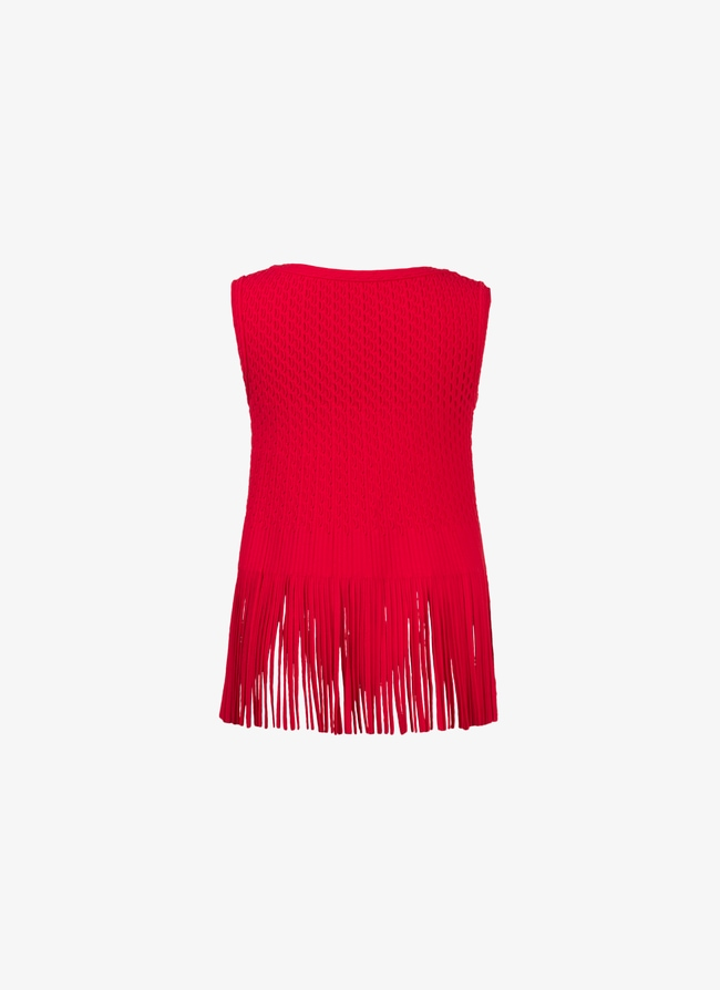 Fringed knitted top - maison-alaia.com
