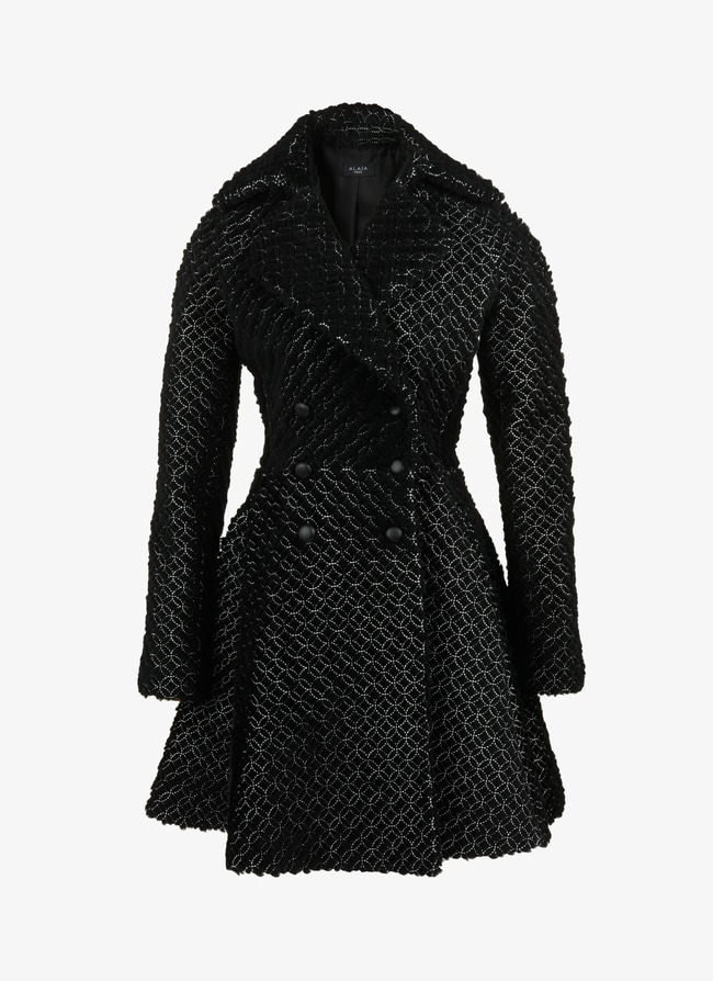 EMBROIDERED SHEARLING COAT - maison-alaia.com