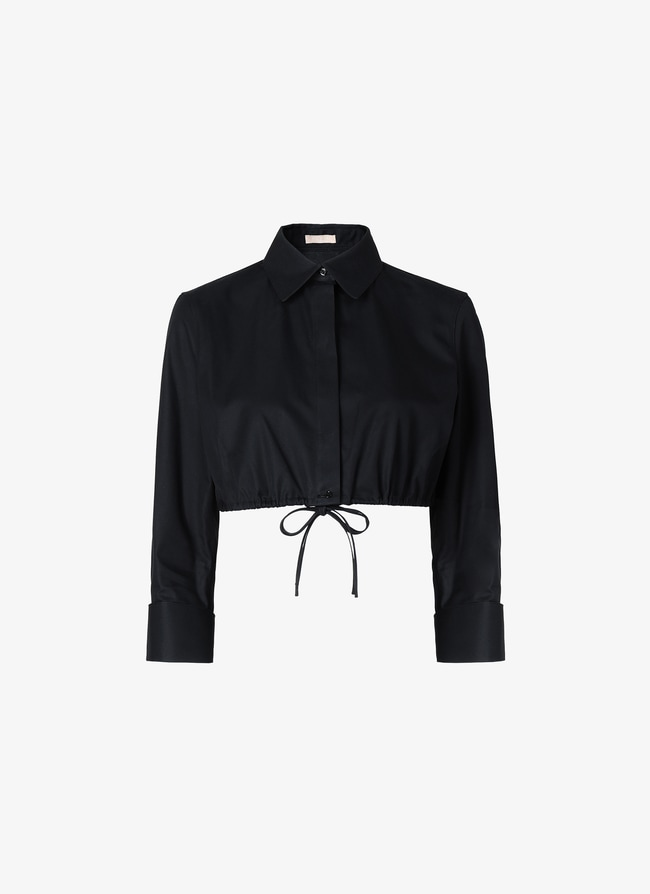 COTTON CROPPED SHIRT - maison-alaia.com