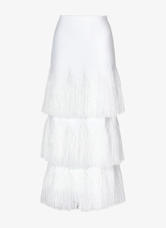 Long Fringed Skirt  - maison-alaia.com