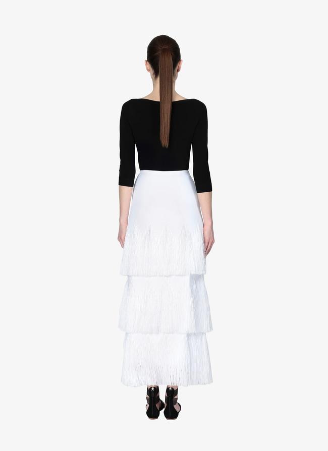 Long Fringed Skirt  - maison-alaia.com
