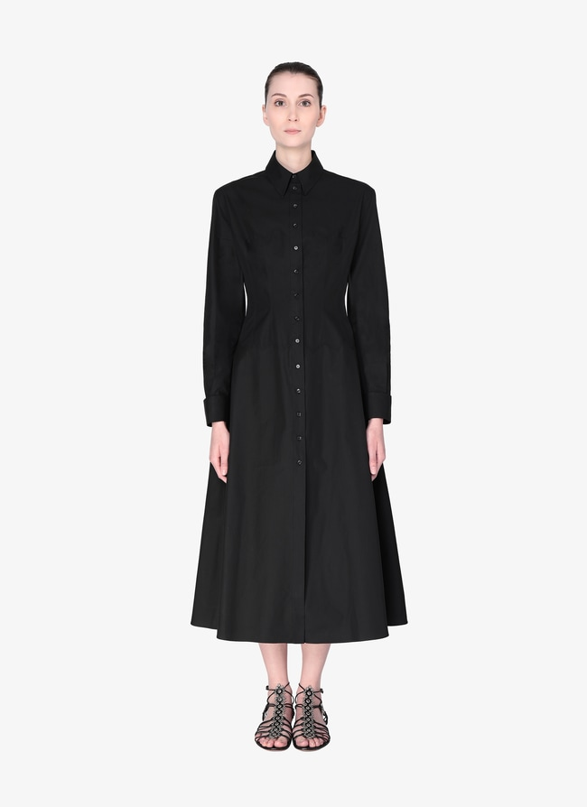 Long-Sleeved Cotton Shirt Dress - maison-alaia.com